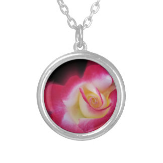 pink yellow rose silver plated necklace