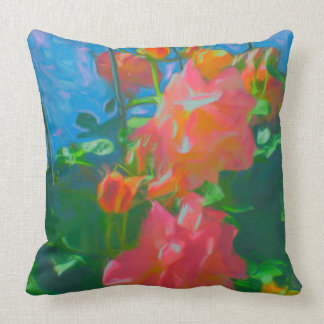 Pink Yellow Roses Impressionist Palette Pillow