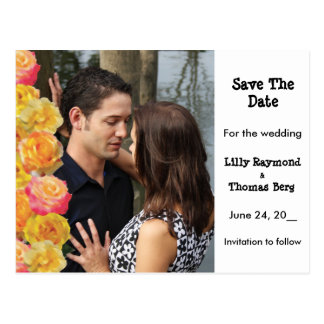 Pink & Yellow Roses Save The date Postcard