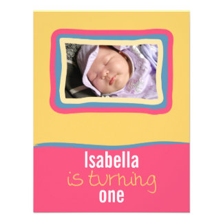 Pink & Yellow SkyFrame Front Personalized Announcement