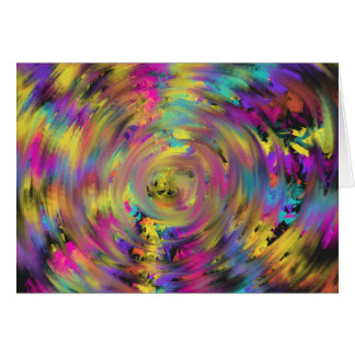 Pink Yellow Spiral Abstract Art Painting Design Card