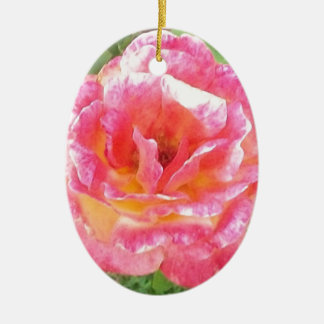 Pink & Yellow Spotted Rose Ceramic Ornament