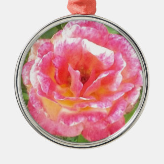 Pink & Yellow Spotted Rose Metal Ornament