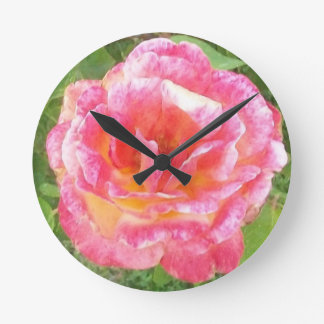 Pink & Yellow Spotted Rose Round Clock