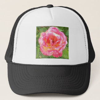 Pink & Yellow Spotted Rose Trucker Hat
