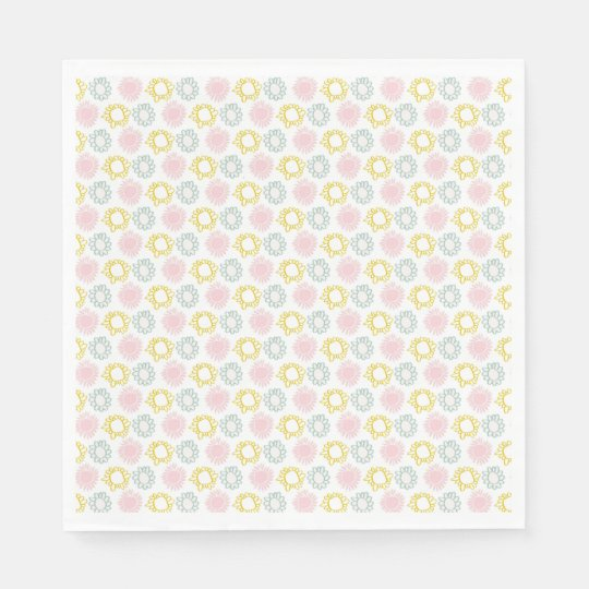 Pink & Yellow Spring Pastel Flowers Paper Napkins