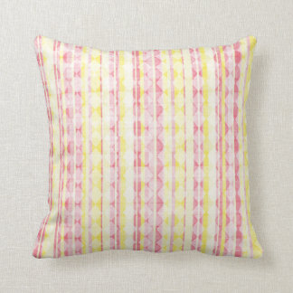 Pink & Yellow Striped Throw Pillow