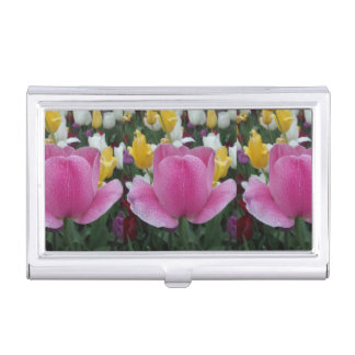 Pink Yellow Tulips Business Card Holder
