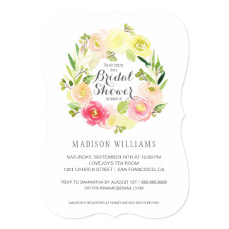 Pink & Yellow Watercolor Floral  | Bridal Shower Card