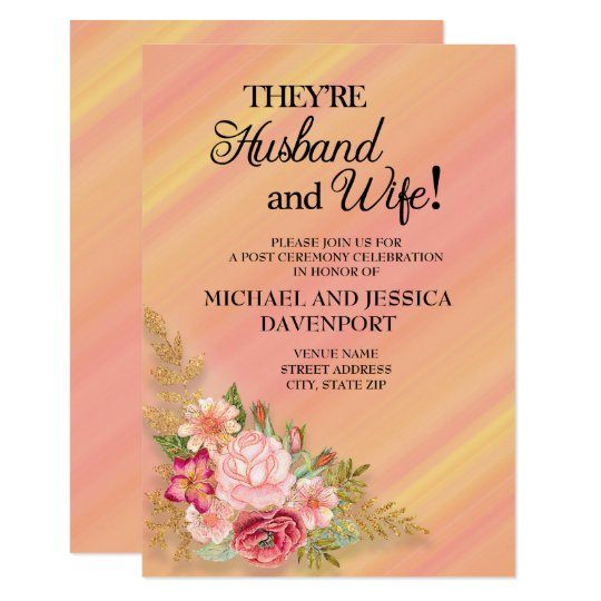 Pink Yellow Watercolor Floral Reception Invitation