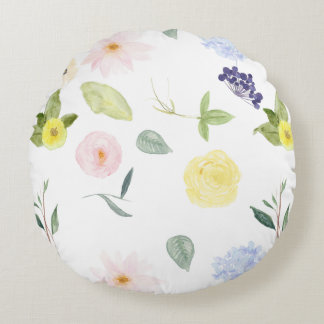 Pink Yellow Watercolor Floral Round Pillow