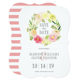 Pink & Yellow Watercolor Floral | Save the Date Card