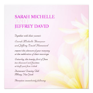 Pink Yellow Watercolor Floral Wedding Invitations