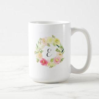 Pink & Yellow Watercolor Floral Wreath | Monogram Coffee Mug