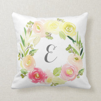 Pink & Yellow Watercolor Floral Wreath | Monogram Throw Pillow