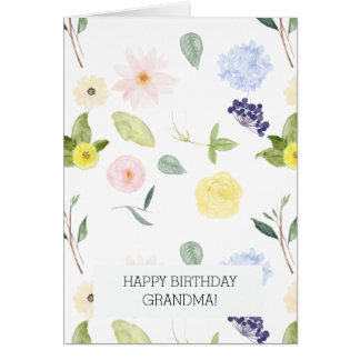Pink Yellow Watercolor Personalized Floral Card