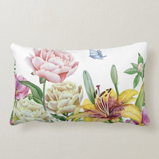 Pink Yellow White Floral with Blue Butterfly Lumbar Pillow