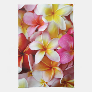 Pink Yellow  White Mixed Plumeria Flower Kitchen Towel