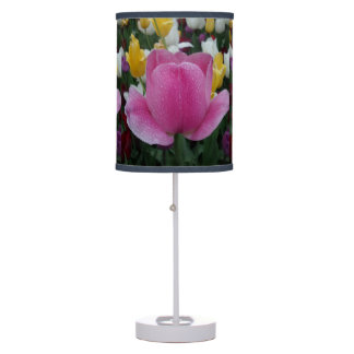 Pink Yellow White Tulips Table Lamp