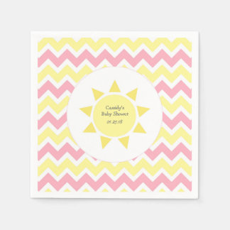 Pink Yellow You are my sunshine theme party Napkin
