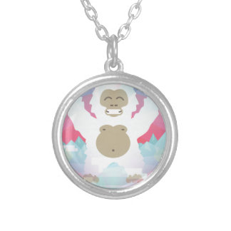 pink yeti silver plated necklace