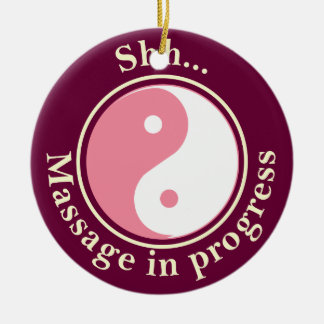 Pink Yin Yang Massage Door Sign Ceramic Ornament