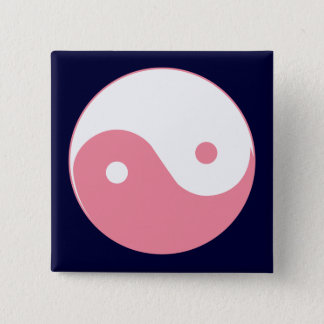 Pink Yin-Yang Symbol 2 Inch Square Button
