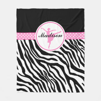 Pink Your Name Zebra Print Ballet Dancer Fleece Blanket