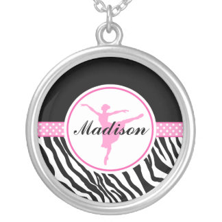 Pink Your Name Zebra Print Ballet Dancer Round Pendant Necklace