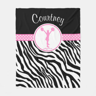 Pink Your Name Zebra Print Cheerleader / Pom Fleece Blanket