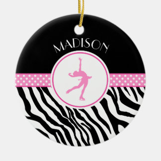 Pink Your Name Zebra Print Figure Skating Round Ceramic Ornament
