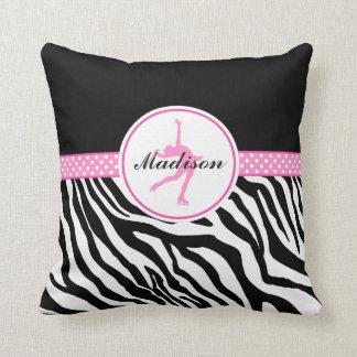 Pink Your Name Zebra Print Figure Skating Throw Pillow
