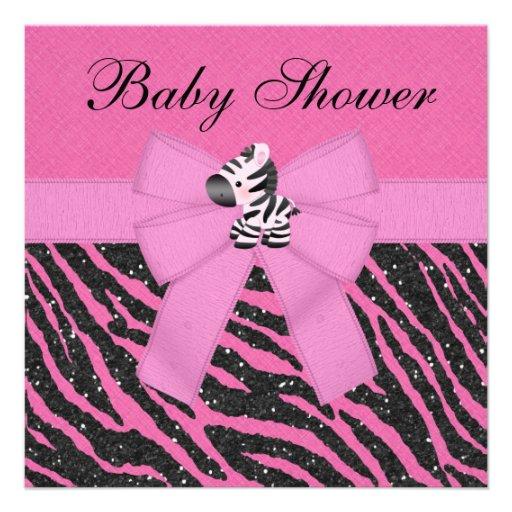 Pink Zebra & Animal Print Faux Glitter Baby Shower Custom Invitations