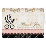 Pink Zebra Baby Carriage Shower Thank You Notes Note Card