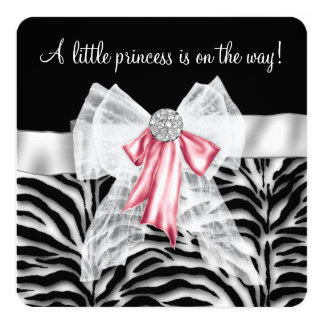 Pink Zebra Baby Shower Card