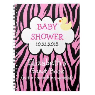 Pink Zebra Baby Shower Guestbook Notebook