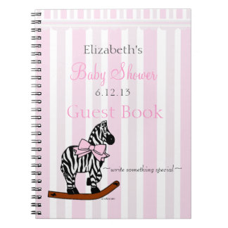 Pink Zebra Baby Shower Guestbook- Notebooks