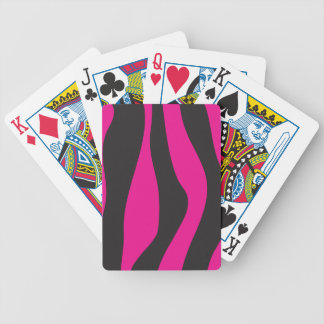 Pink zebra bicycle playing cards