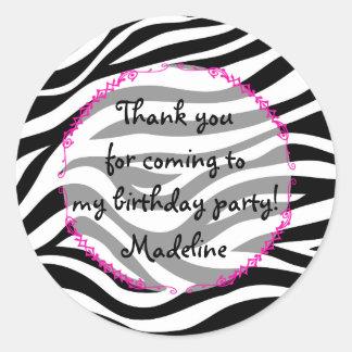Pink Zebra Birthday Party Favor Round Sticker