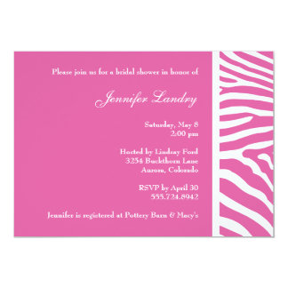 Pink Zebra Bridal Shower Invitation