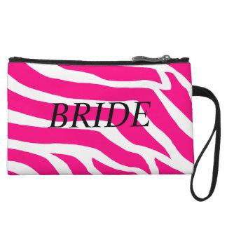 Pink Zebra Bride Wristlet