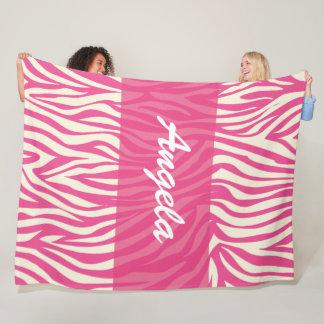 Pink Zebra Custom Fleece Warm Cozy Blanket