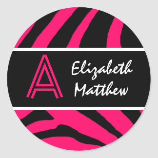 Pink Zebra Customize Last and First Name Sticker