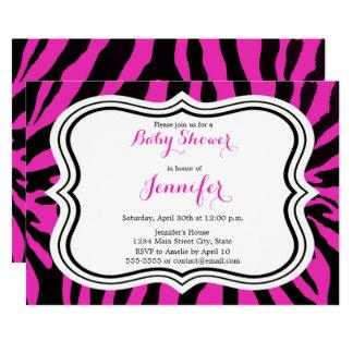 Pink zebra fashion glamour girl baby shower card