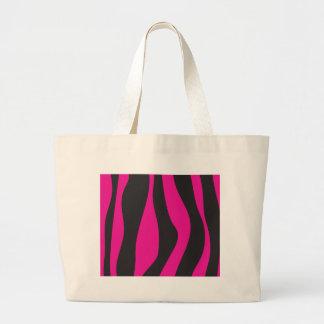 Pink zebra large tote bag