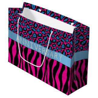 Pink Zebra/Leopard Print Diamond Anniversary LG Large Gift Bag