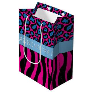 Pink Zebra/Leopard Print Diamond Anniversary Medium Gift Bag