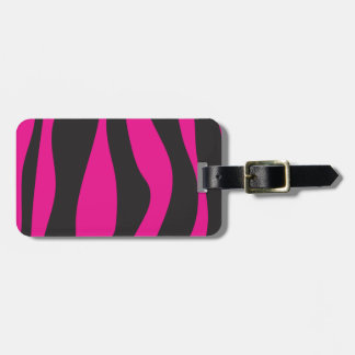 Pink zebra luggage tag