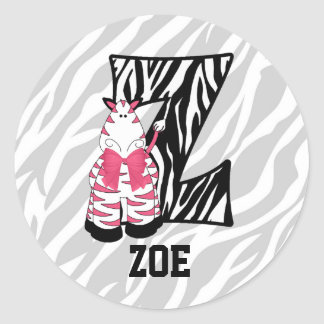 "Pink Zebra Monogram ""Z"" Personalized Stickers"