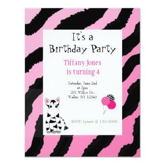 Pink  Zebra Pattern Birthday Invitation